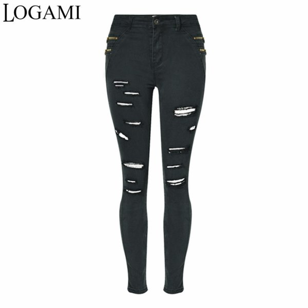 LOGAMI Black Ripped Jeans For Women 2018 Spring Autumn Woman Hole Tight Pencil Pants Jean