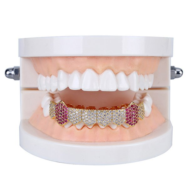 New Arrival Gold Plated Hip Hop Vampire 8 Teeth Grillz Micro Pave CZ Stone Bottom Teeth Caps Holleween Party Gift Dental Body Jewelry