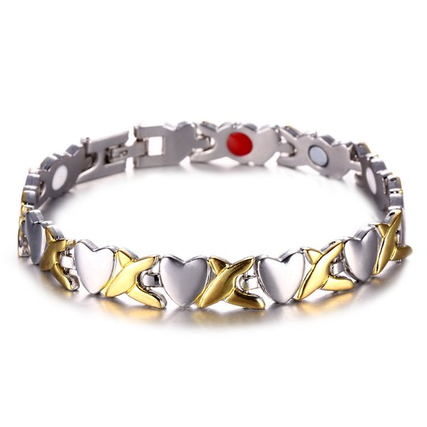 Новая медь магнитная энергия здоровый браслет для мужчин подарок браслет золото серебро цвет сердце волна стрелка ссылка браслет мужской подарок ювелирные изделия