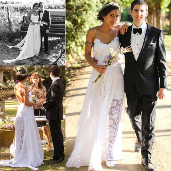 Romantic Lace A Line Wedding Dresses Beach Garden Style Sexy Open Back Bridal Gowns Spaghetti Straps 154