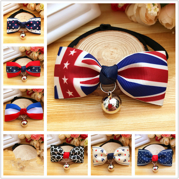 Holiday Pet Cat Dog Collar Bow Tie With Bell Adjustable Neck Strap Cat Dog Grooming Accessories Pet Product Supplies