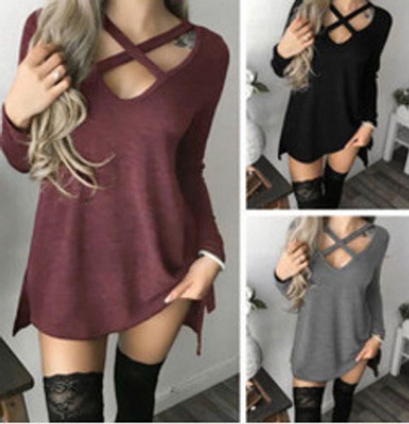 Heat Sell Autumn New Pattern V Lead Irregular Crossing Bandage T shirts for Pity Jacket Woman Plus size women cotton blouse