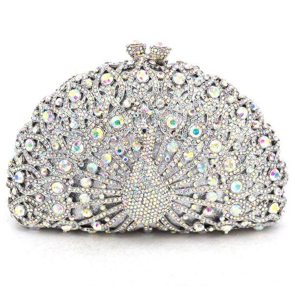 Animal Luxury Crystal Evening Bag Peacock diamond party purse pochette soiree Women Chain handbags wedding Bag Day Clutches Y18103003