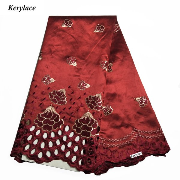 KERYLACE Sewing Craft Nigerian Lace George embroidered High Quality New Silk African George Fabric for Women Dress French Sequin Fabric 5 Y