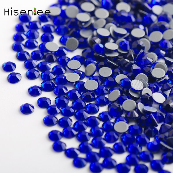 AAAA High Quality Crystal Clear Super Shiny Sapphire Ccolor Flat Round Shape Rhinestone Fashion Nail Art Accessories Decoration