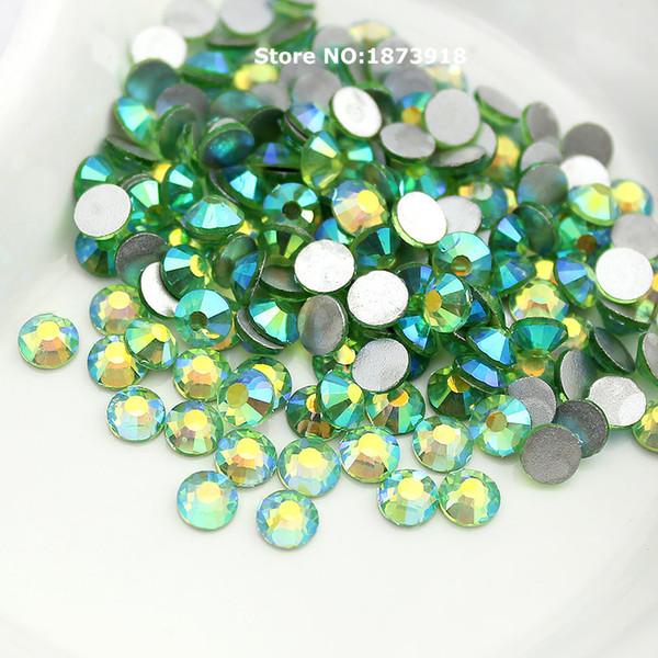 Light Green AB SS3-SS20 Nail Art Crystals Non Hot Fix Rhinestone Flatback Loose Stone For DIY Nails Decoration