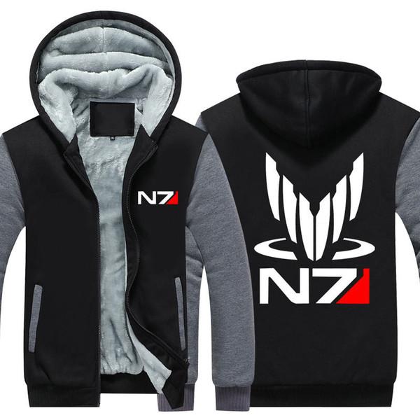 Men Velvet Thicken Hooded Sweatshirts Mass Effect N7 Print Zipper Hoodies Winter Cardigan Jacket Coat Pullover USA EU Size Plus Size