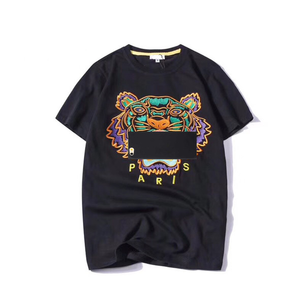 Fashion Summer Designer T Shirts Men Women Embroidery Tops Tiger Head Letter Embroidery T Shirt Brand Short Sleeve Tees S-2XL