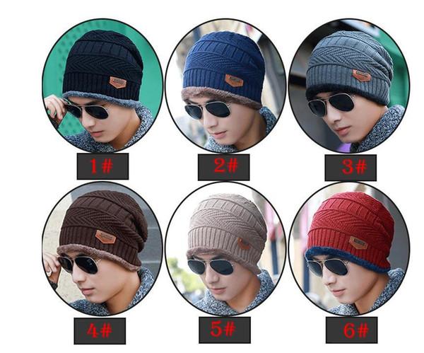 6 colors Men Women Soft Knitted Cap Wool Beanie Velvet Wool Cap Winter Outdoor Ski Hand Crochet Warm Cap