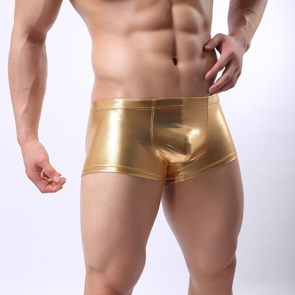 Sexy Faux Leather Underwear Men U Convex Pouch Panties Boxers Shorts Gay Underpants Erotic Black/Silver/Gold Lingerie 2018 New