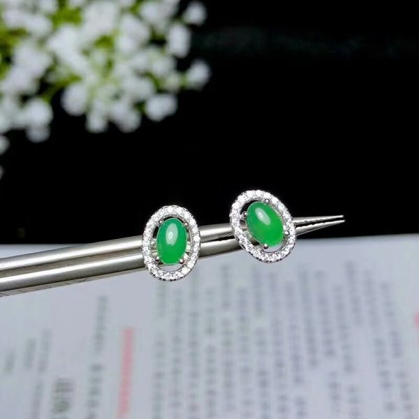 SHILOVEM 925 silver natural green chalcedony Stud Earrings classic wholesale Fine women gift party new plant party e040603agys