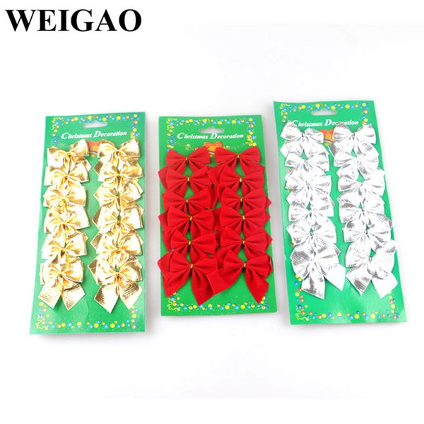 WEIGAO 12Pcs Gold Red Christmas Bows Christmas Tree Decorations Xmas Tree Bow Ornaments Drop Pendant Small Bow For Kids Gift Box