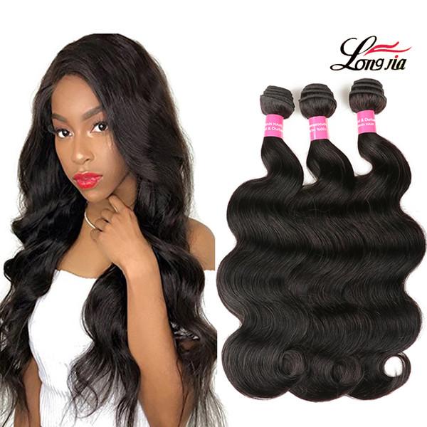 Capelli peruviani dell'onda del corpo di alta qualità 8-28 pollici non trasformati tessuto dei capelli umani 3/4 bundles estensioni dei capelli di colore naturale di Remy