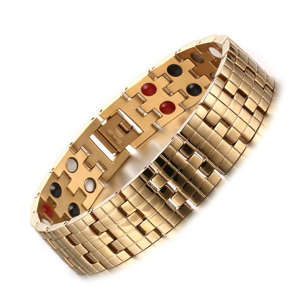 2018 Real Promotion Round Link Chain Hologram Bracelets Magnetic Health Care Bracelet Bangle Plate Men's Jewelry With Magnets
