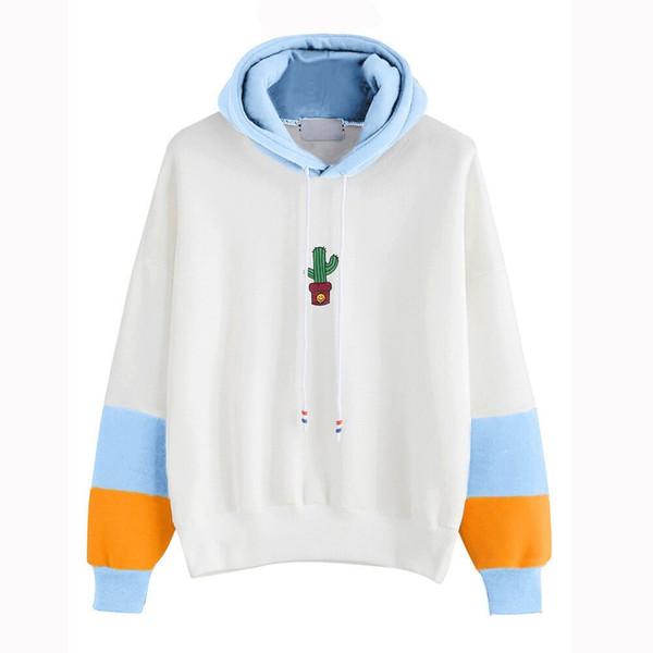 Fashion Womens Sweatshirt Long Sleeve Harajuku Cactus Print Cotton Sky Blue Hoodie Ladies Casual Hooded Pullover Tops Blouse