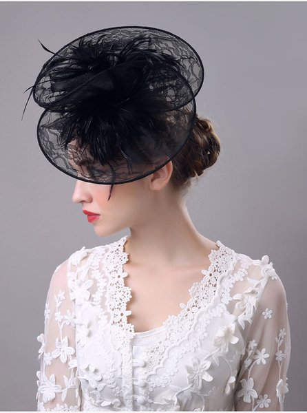 White Black Hats Perfect Birdcage Headpiece Beads White Black Bridal Net Hat Wedding Bird Cage Veils 2018
