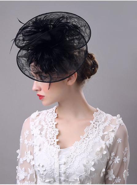 Weiß Schwarzes Hut-perfekter Birdcage-Kopfschmuck bördelt weißes schwarzes Brautnet-Hut-Hochzeits-Vogel-Käfig-Schleier 2018