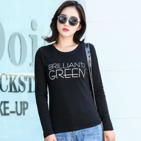 2018 New Autumn Winter Long Sleeve T-Shirts Women Letter Print Fashion for Women Cotton Ladies Tops Tees Basic