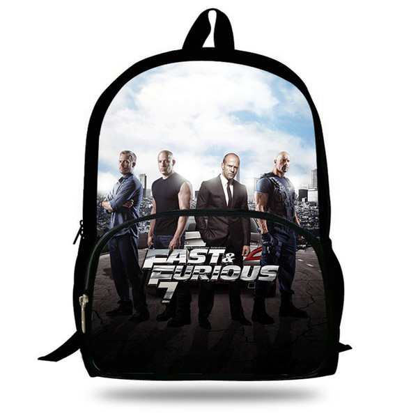 Fast Furious 7&8 design Backpack Children Characters Print School Bags For Teenage School Backpacks Kids Daily Bag For mens boys