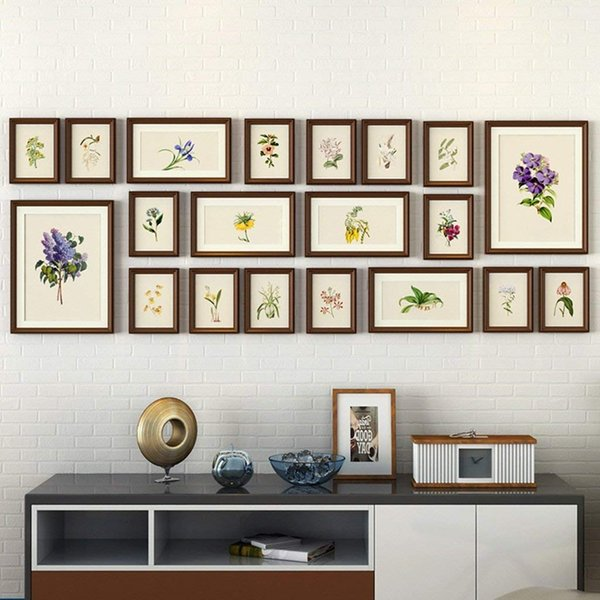 20 Piece Photo Frame Wall Gallery Kit Includes: Frames,Hanging Wall Template,Art Painting Core (Color : A)