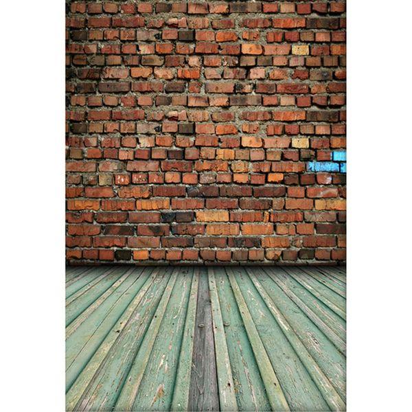 Rétro Vintage Brique Mur Toile De Fond Vinyle Nouveau-Né Bébé Photo Studio Accessoires Enfants Enfants Photographie Milieux Bois Plancher