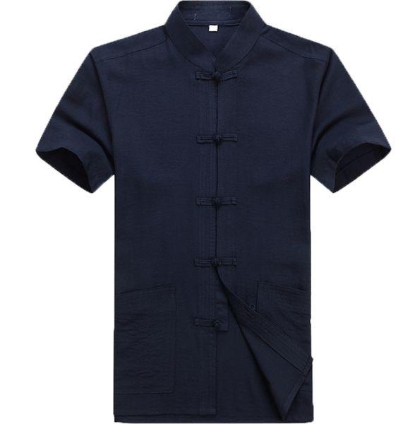 2018 summer traditional chinese clothing men tang suit linen short sleeve tops kung fu jacket shirt Linen Shirts Short Sleeve