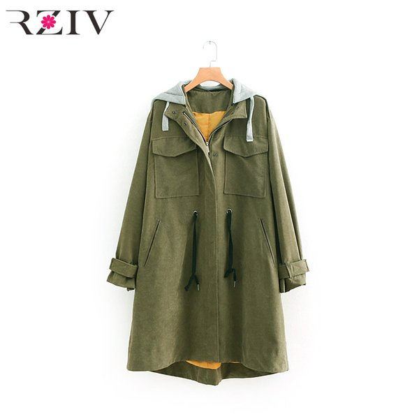 RZIV 2018 autumn and winter women's windbreaker casual solid color pocket decoration hooded loose windbreaker