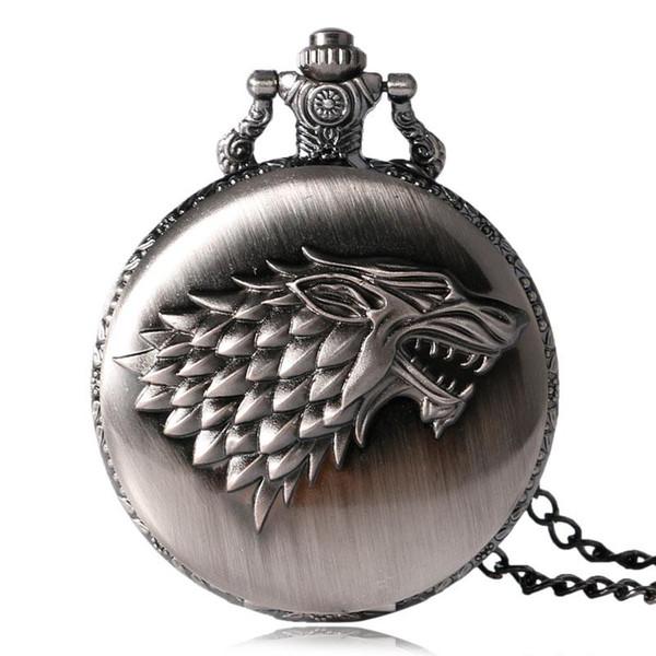 2018 Antique Game of Thrones Strak Famille Crest Hiver arrive Design Montre de poche Cadeaux uniques Unisexe Fob Clock