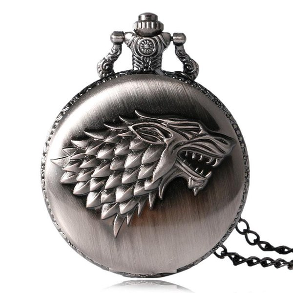 2018 Antique Game of Thrones Strak Family Crest Winter is Coming Design Reloj de bolsillo Regalos únicos Reloj fob unisex