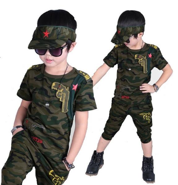 Meninos do bebê Verão Camuflagem Definir Novas Crianças Fatos de Treino de manga Curta T-shirt Calças 2 pcs Menino Roupas Terno Do Exército Verde Crianças conjuntos