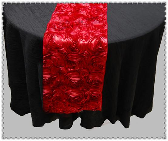 Free shipping Hot Sale Rose Embroidery Red Table Runner Rosette Satin Table runner for Wedding Party Banquet Table Decorations