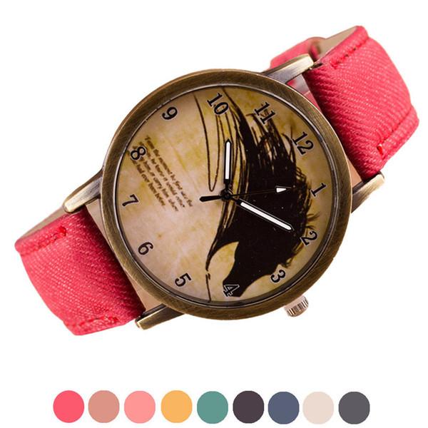 Mance 2018 jaragar luxury watch men Newly Design Vintage Brief Painting Horse Watch Quartz Wrist Watches relogio masculino