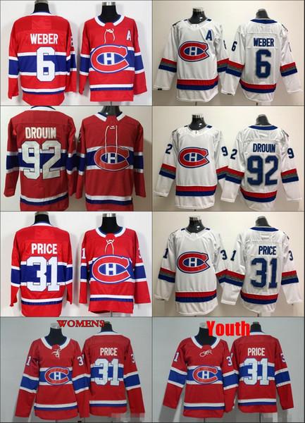 2018 NEW Womens Montreal Canadiens 31 Carey Price 6 Shea Weber 92 Jonathan Drouin Hockey Jerseys Ladies Stitched Girls Jersey