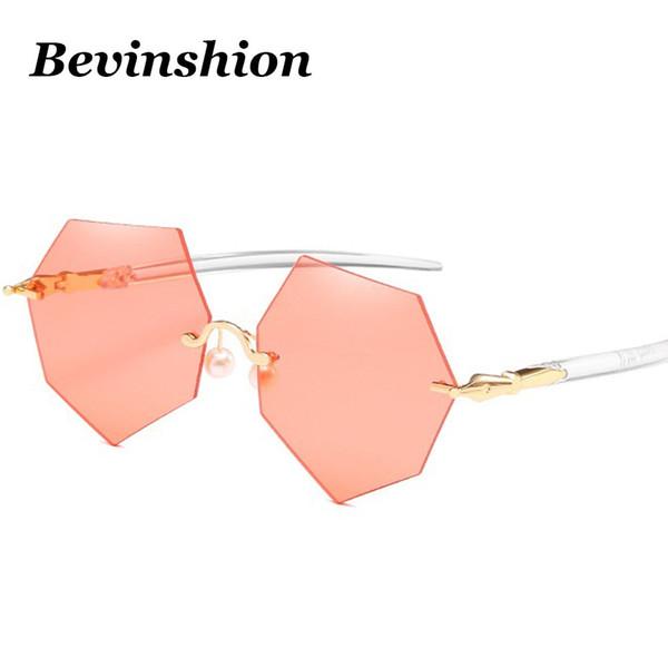 Neue Marke Perle Perlen Unregelmäßige Polygon Randlose Sonnenbrille Frauen Rot Blau Rosa Objektiv Schneiden Overszied Transparente Gläser klar