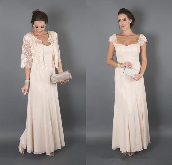 2019 Long Chiffon Mother of the Bride Dresses with Lace Jacket Portrait Neckline Evening Party Gowns