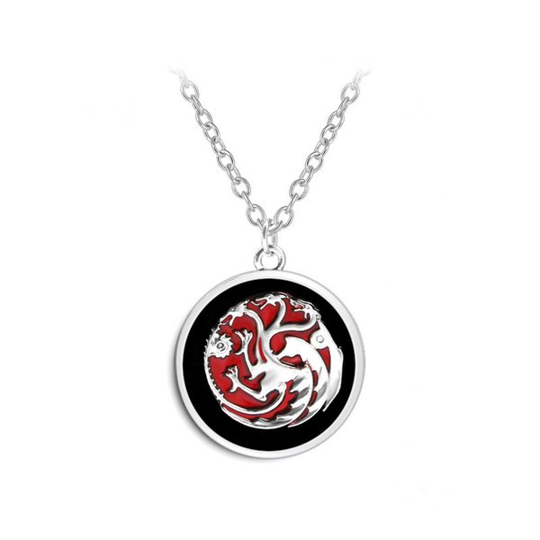 Black Red Colors Pendant Game of Throne Family Targaryen Movie Choker Necklace Bijoux Summer Trendy Link Chain Pendant Jewelry