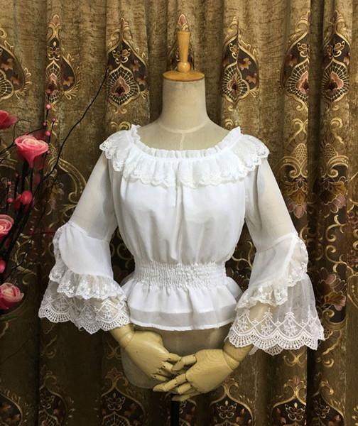 Wholesale Original Lolita White Black Chiffon Lace Long Flare Sleeve Shirt Retro Summer Gothic LOLITA Blouse