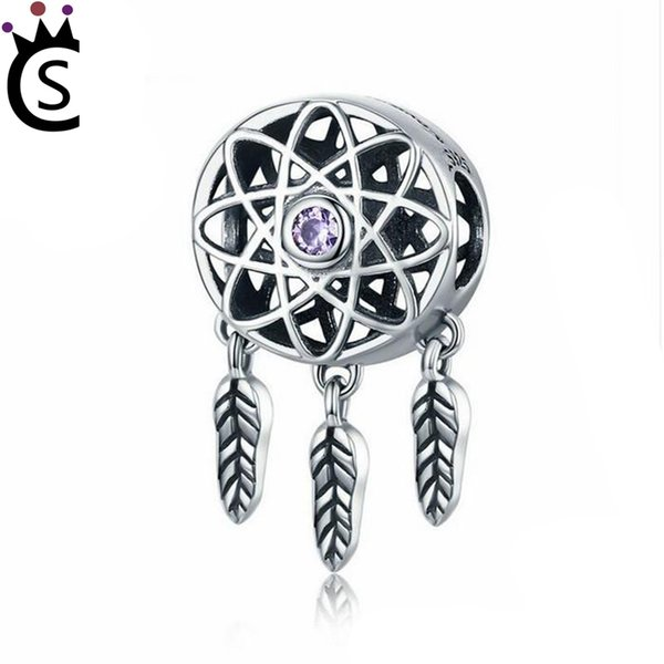 Hot Sale Genuine 925 Sterling Silver Charm Beautiful Dream Catcher Holder Beads fit Charm Bracelet Necklace DIY Jewelry Gift