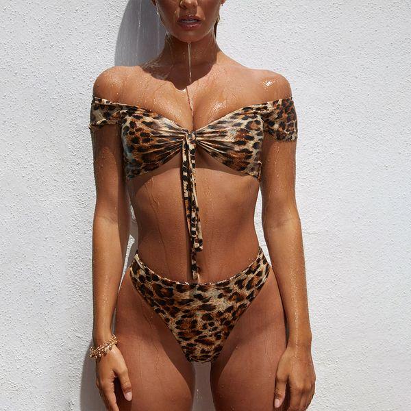 Leopard Women's Bikini Swimwear Off Shoulder Front Tie Bikini Top And High Waist 2 Pieces Bathing Suits
