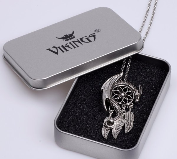 Dragon Guardian Dream Catcher Pendant Necklace Boho Bohemian Women Choker Jewelry Viking Amulet Charm Antique Silver Plated