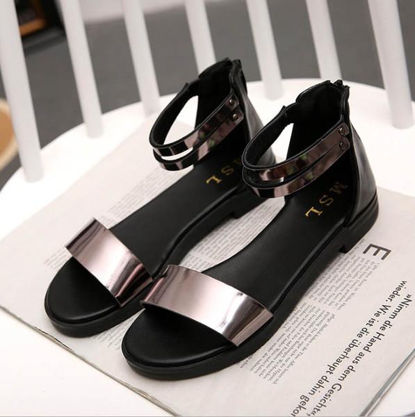 Ladies Sommer neue pu zwei Farbe Schnalle kurz entworfen Schuhe flache-bottomed Sandalen offen-toed Schuhe zyws01
