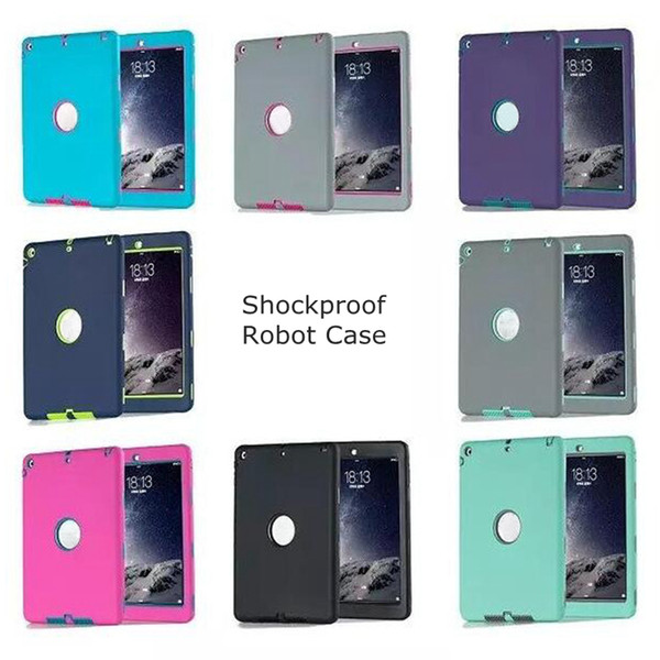 3 in 1 Defender Waterproof Shockproof Robot Case Military Heavy Duty Silicon Cover for iPad air iPad 234 iPad mini