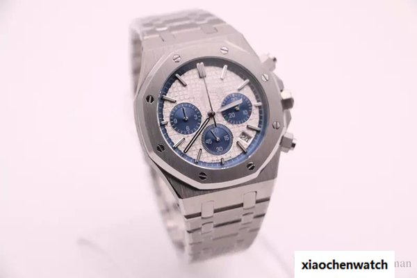 Newest Style Luxury Brand Watch For Men 43MM Royal Oaks White Dial Silver Stainless Band Chronograph Watch Montre Homme