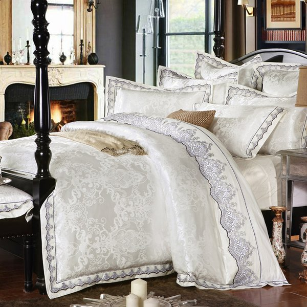 White Gold silver Pink Jacquard luxury bedding set queen/king stain bed set 4/6pcs cotton silk lace duvet cover sets bedsheet home textile