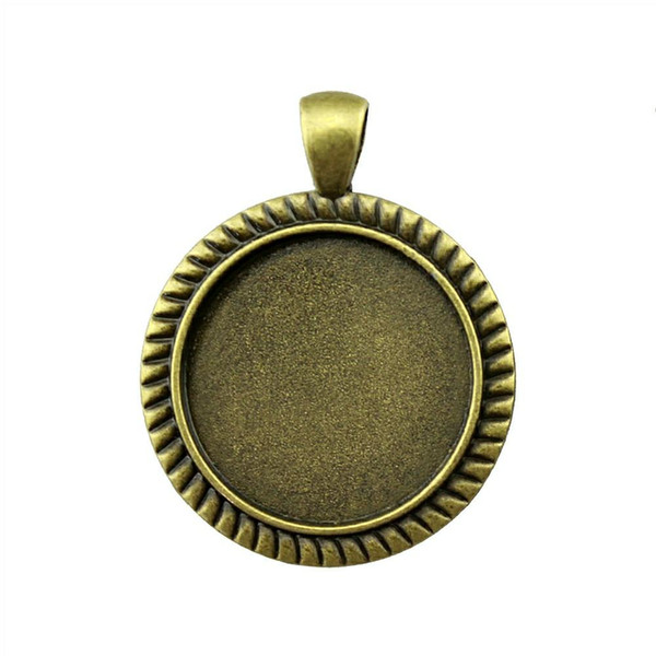 9 Pieces Cabochon Cameo Base Tray Bezel Blank Diy Accessories For Streaks Perforation Side-On Inner Size 25mm Round Necklace Pendant Setting