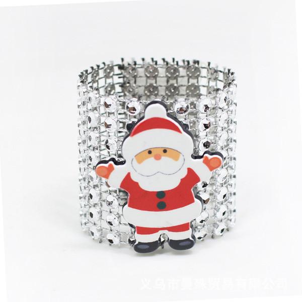 100Pcs/Lot Plastic Rhinestone Wrap Christmas Santa Claus Napkin Ring Napkin Chair Buckle Hotel Wedding Supplies Home Decoration