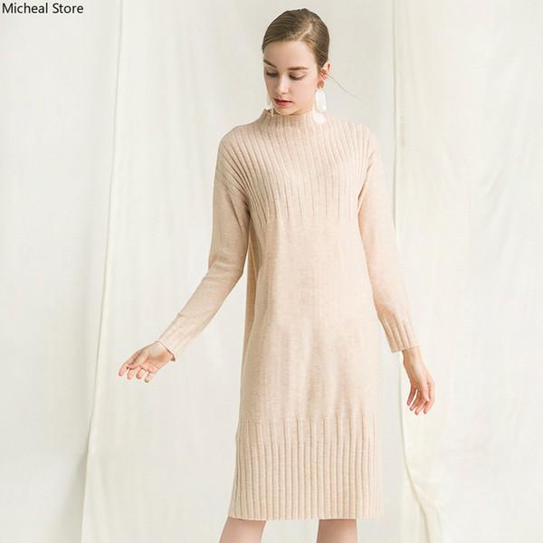 Lã superfina contratada e atmosfera descontraída de novo fundo de 2018 invernos de outono meia define colarinho alto tricô vestido de mulheres