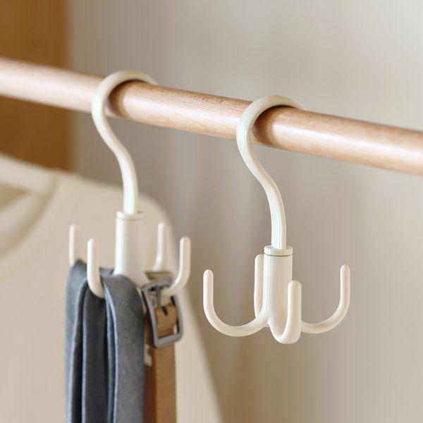360 Degree Rotated Multifunction 4 Hooks Handbag Clothes Ties Scarf Plastic Holder Shelf Hanger Sundries Storage Organizer Rack