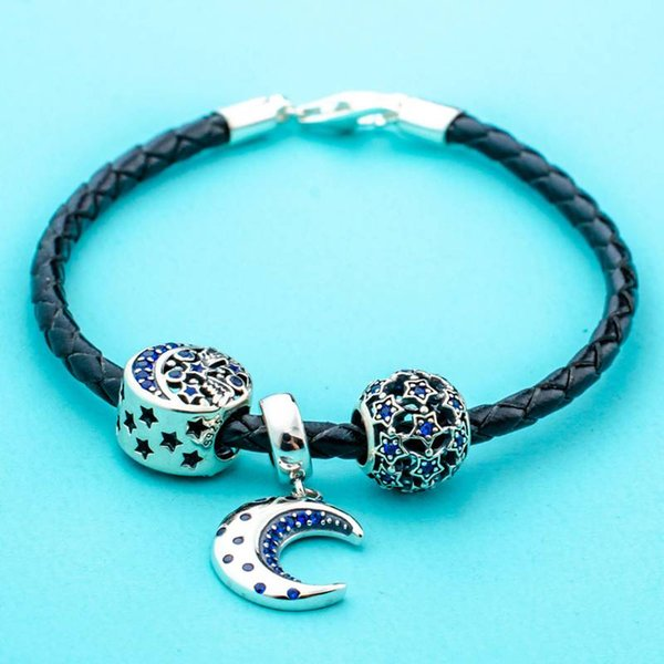 Haha Jewelry 925 Sterling Silver Moon Star Bracelet Starry Night Charms  Bead Black Braided Leather Bracelet For DIY Pandora Style Charm Gift Silver