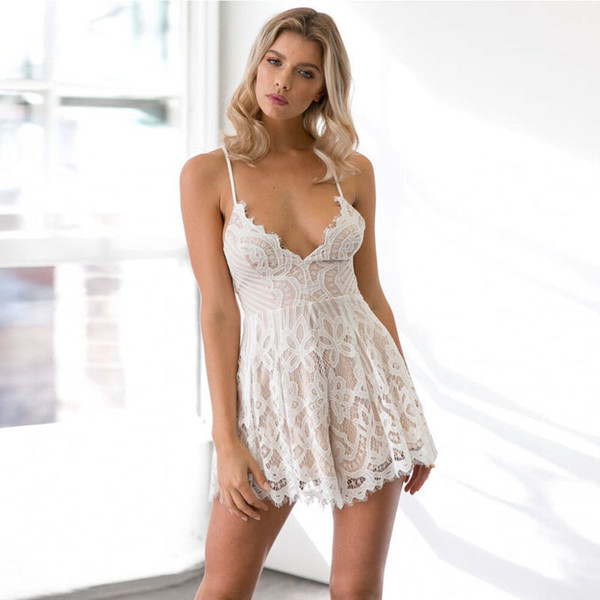 Women Lace Holiday Mini Playsuit Strapless Lace Jumpsuit Summer Beach Casual Women Leotard Sexy Sleeveless
